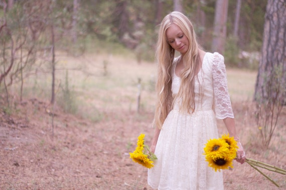 "Bridal Dress Short Lace Cream Off White Ivory - ""Ada"""