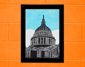London St Paul's Cathedral lino print