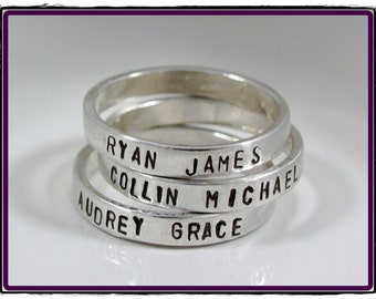 Personalized ring- custom Hand Stamped sterling silver stackable Ring Size 5-10