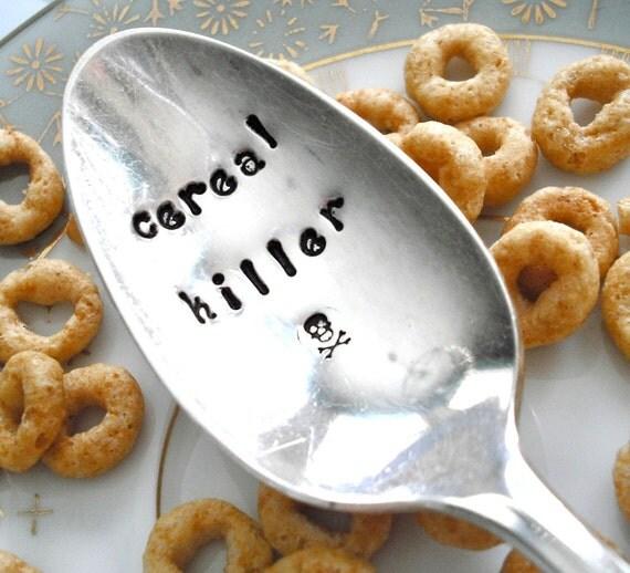 Vintage Silver Plated Hand Stamped TEASPOON - cereal killer - cij