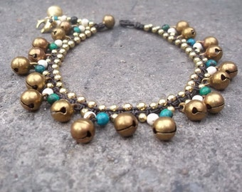 Handmade Turquoise Belly Dancer Style Brass Bell Anklet from Thailand
