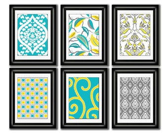 Set of Six Modern inspired /Vintage Yellow/Turquoise Art Print Collection (Unframed)