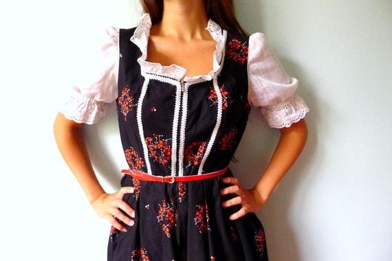 60s black red white floral Dirndl German folkloric dress L