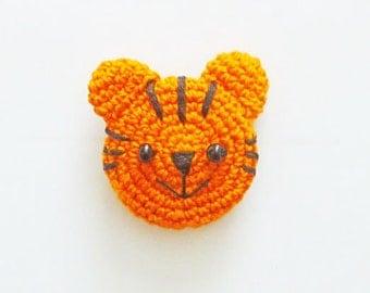 Hand Crocheted Orange Tiger Kitchen Magnet
