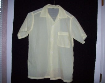 Vintage Sheer yellow nylon short sleeve blouse from the 1940's.