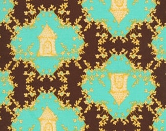 72050 Free Spirit Tina Givens Opal Owl  Trellis in Chocolate color- 1 yard