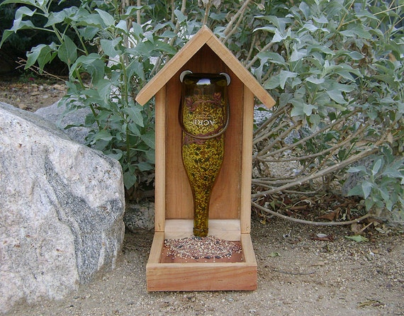 Wine Bottle Bird Feeder Green Glass With Grape Vine Label