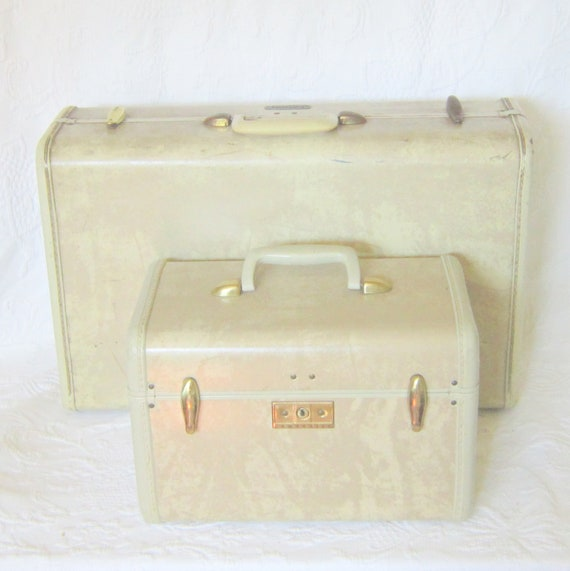 Cream Marbled Suitcase Train Cosmetic Hard Sided Case Back to School Storage Home Decor Key