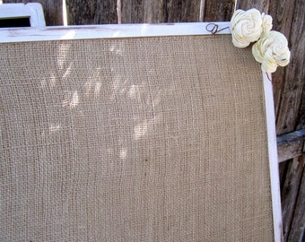 1 XXL Burlap Vintage Rustic Woodland Shabby Chic Wedding Message Menu Board Seating Chart Board