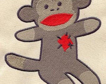 Sock Monkey Embroidered Flour Sack Hand/Dish Towel