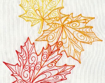 Delicate Autumn Leaves Falling Embroidered Flour Sack Hand/Dish Towel