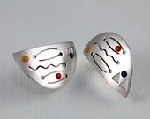 Vintage Polka Dot earrings Sterling silver enamel Mod