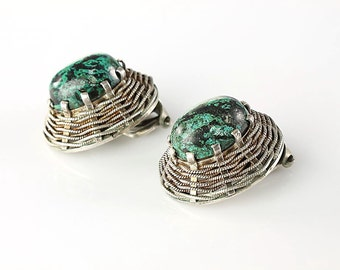 Turquoise Sterling silver Earrings Basket Weave, Clip on Oval Vintage jewelry