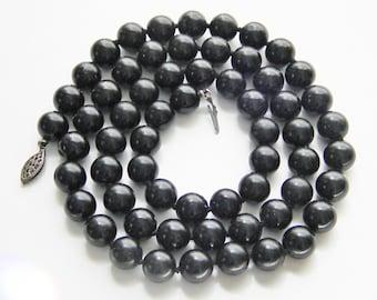 SALE Vintage Black Glass Beaded Bead Necklace 40s