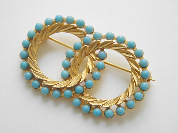 Vintage Turquoise Blue Bead Circles Brooch