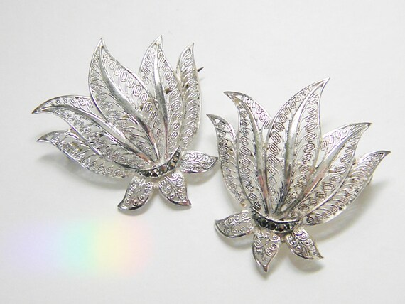2 Vintage Sterling Filigree Marcasite Leaf Brooches