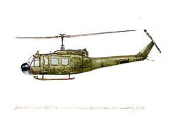 "UH-1 Iroquois Huey, US Army Aviation watercolor print, 8x10"""