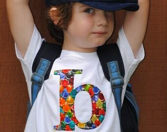 Back to School  kids crayon initial tshirt