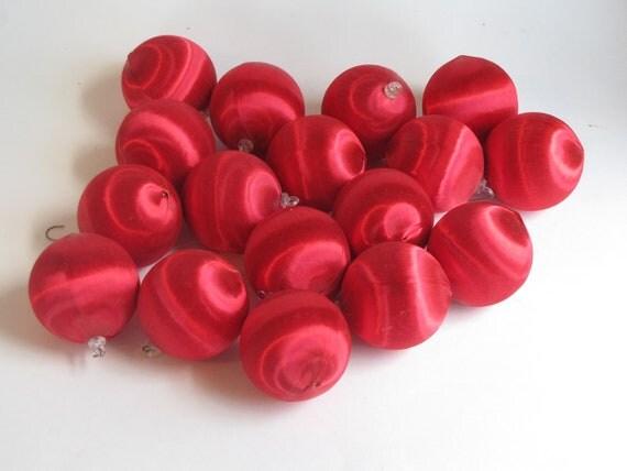 Vintage Satin Ruby Red Christmas Balls / Bulbs / Ornaments - set of 17