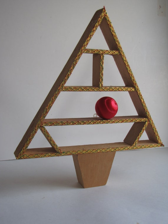 Vintage Wooden Christmas Tree Curio Shelf By
