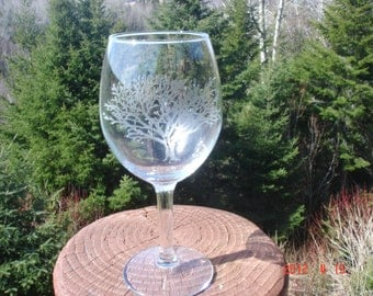 Tree Etched Glassware