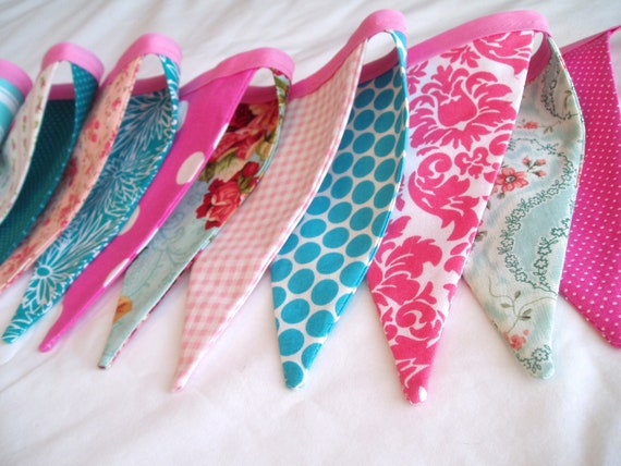 Pink Fabric Banner Bunting Garland- Pink , Hot Pink, Teal, Turquoise