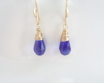 Sapphire Teardrop Crystals, Wire Wrapped Earrings, Gold Filled, Weddings, Bridal, Bridesmaids, Handmade Jewelry, Jewellery