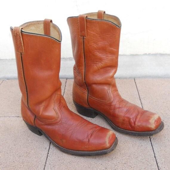 Vintage 70s Rust Orange WESTERN Boots Sz 13