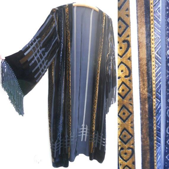 Vintage 80s Ethnic BURNOUT VELVET Gypsy Fringe Kimono