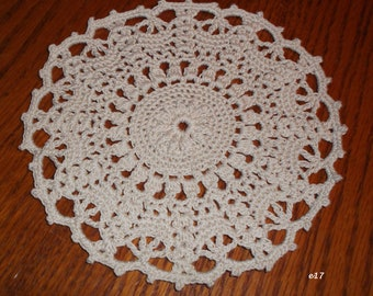 Crocheted Ecru Doily (e17)