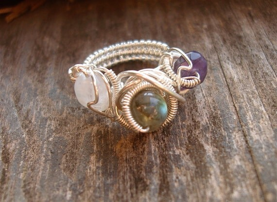 ON HOLD // Sterling Silver // Labradorite // Amethyst // Moonstone // Wire Wrapped Ring // Size 5.5