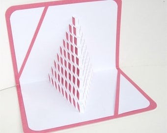 Fight Cancer 3D Pop Up Card of STAIRS TO LIFE Geometric Intricate Cuts of Origamic Architecture in Pink and White One Of A Kind