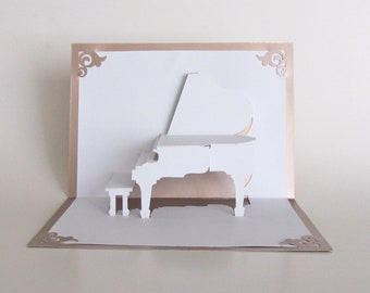 GRAND PIANO 3D Pop Up Card Origamic Architecture Home Decoration  Handmade Handcut in White and Bright Metallic Light Antique Pink OoAK.
