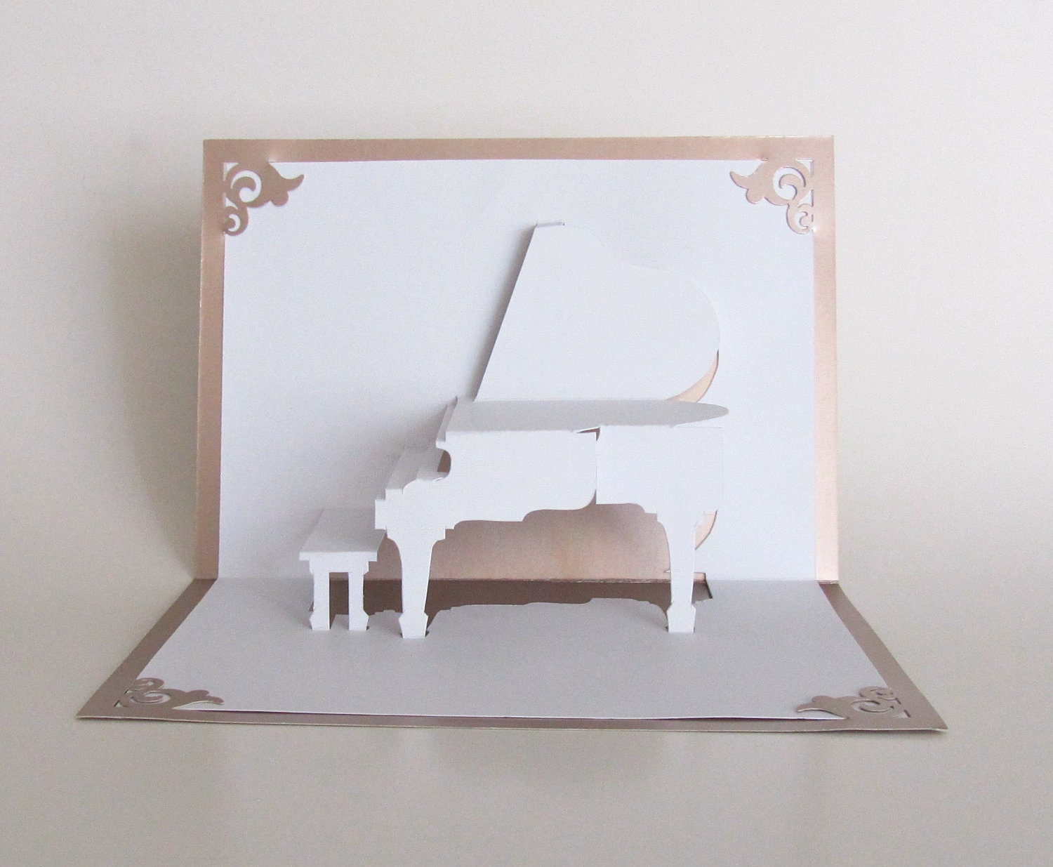GRAND PIANO 3D Pop Up Card Origamic Architecture Home