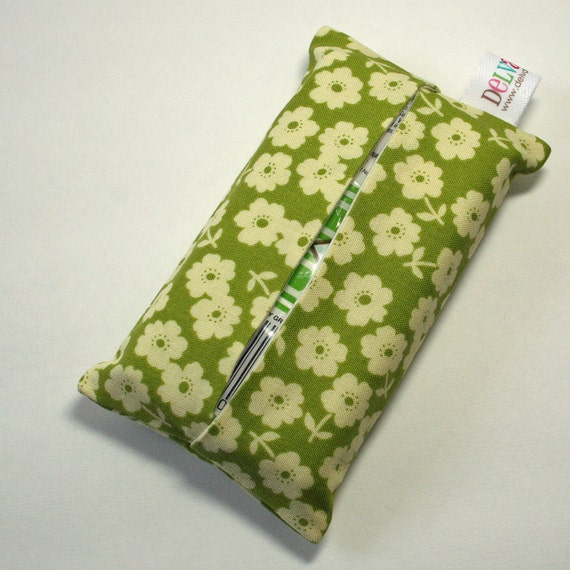 Pocket Tissue Cover - Travel Size Kleenex Pack included - Riley Blake October Afternoon Fly a Kite Floral Green