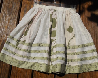 Gathered linen cotton ivory with green print patchwork skirt -size S, ready to ship