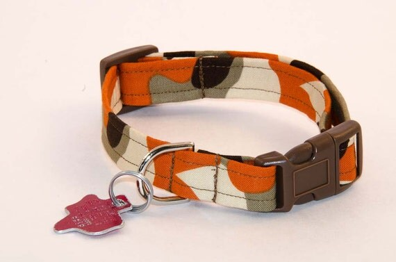 Orange and Brown Camo - Dog Collar - Adjustable