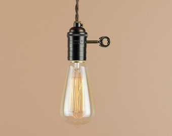 Industrial Lighting w/ Edison Light Bulb and Large Turn Key - Pendant Light w/ Antique Reproduction Cloth Wire - Farmhouse Style Home Decor