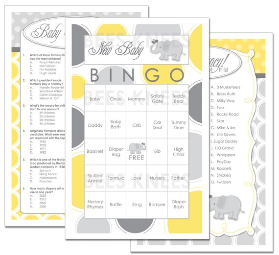 Baby Shower Games Instant Download Three games Bingo - Candy Bar Game - Baby Trivia