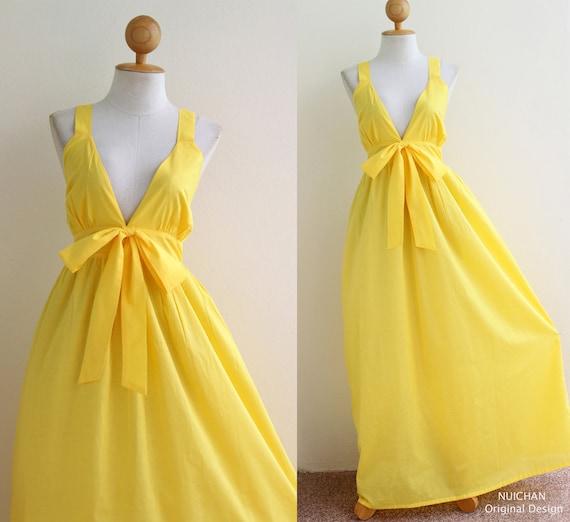 Yellow maxi dress cocktail bridesmaid summer party dress for Yellow maxi dress for wedding