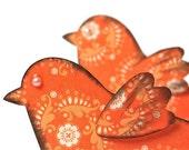 Bird scrapbook embellishments . 2 set .Tangerine orange designer paper . dimensional . wall decor . paper embellishments