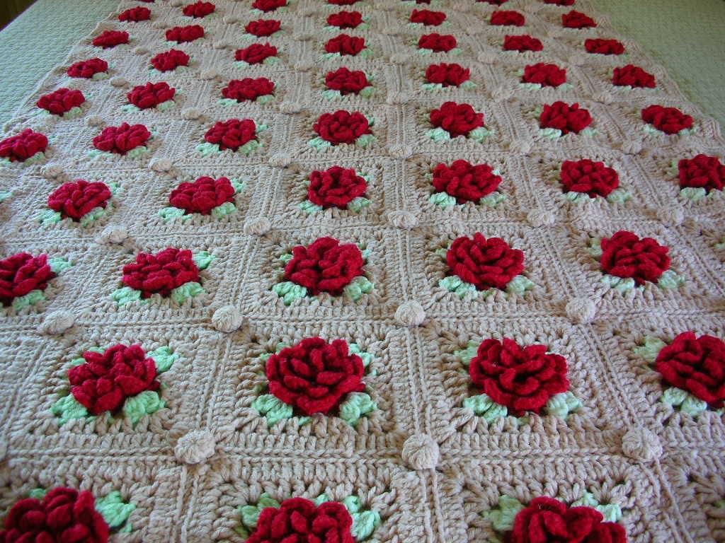Crochet Rose Blanket Raised Red Roses by TheBackOfTheBasement