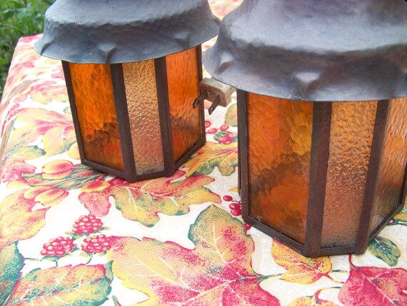 Amber Glass Lighting / Set Of 2 Vintage Electric Stained Glass Light Fixtures / Outdoor Lighting