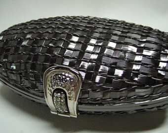 RODO gunmetal gray Metal Evening Clutch Shoulderbag