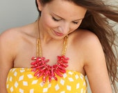 Rose Pink Coral Necklace / Bauble Handmade Clay Beads / One of a Kind Piece / Statement Necklace