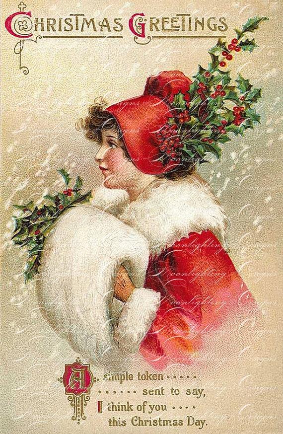 Items similar to vintage christmas postcard printable digital download scrapbooking journaling for Free digital christmas cards