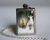 Terrarium Necklace Diorama necklace terrarium Pendant diorama pendant snow necklace snowman pendant miniature necklace snow