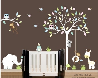 Children wall decals white tree wall decal vinyl decal tree wall - 024
