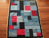 Blue Jeans Quilt Denim Baby Construction Yellow Red Black Crib Toddler Throw Size Boys Cotton Upcycled 38x54 in - US Shipping Included