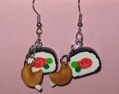 Clay Sushi and Fortune Cookie Dangle Earrings for Pierced Ears